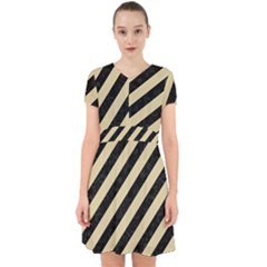 Stripes3 Black Marble & Light Sand Adorable In Chiffon Dress