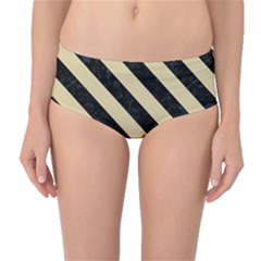 Stripes3 Black Marble & Light Sand (r) Mid Waist Bikini Bottoms by trendistuff