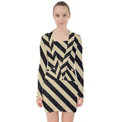 Stripes3 Black Marble & Light Sand (r) V Neck Bodycon Long Sleeve Dress