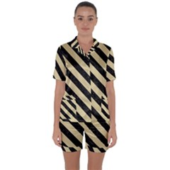 Stripes3 Black Marble & Light Sand (r) Satin Short Sleeve Pyjamas Set by trendistuff