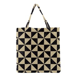 Triangle1 Black Marble & Light Sand Grocery Tote Bag by trendistuff