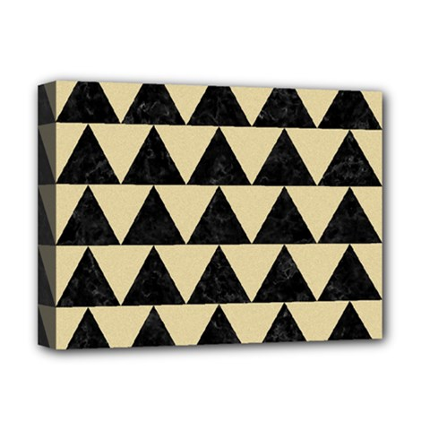 Triangle2 Black Marble & Light Sand Deluxe Canvas 16  X 12   by trendistuff