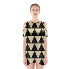 Triangle2 Black Marble & Light Sand Shoulder Cutout One Piece by trendistuff
