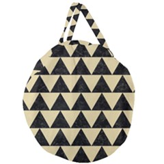 Triangle2 Black Marble & Light Sand Giant Round Zipper Tote by trendistuff