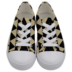 Triangle2 Black Marble & Light Sand Kids  Low Top Canvas Sneakers