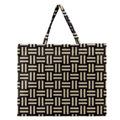 Woven1 Black Marble & Light Sand Zipper Large Tote Bag by trendistuff