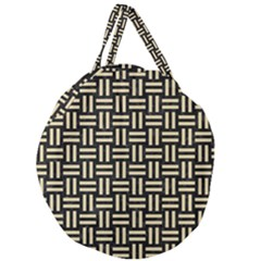 Woven1 Black Marble & Light Sand Giant Round Zipper Tote