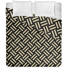 Woven2 Black Marble & Light Sand Duvet Cover Double Side (california King Size) by trendistuff