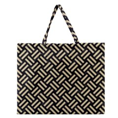 Woven2 Black Marble & Light Sand Zipper Large Tote Bag by trendistuff