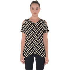 Woven2 Black Marble & Light Sand Cut Out Side Drop Tee