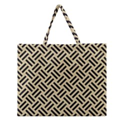 Woven2 Black Marble & Light Sand (r) Zipper Large Tote Bag by trendistuff
