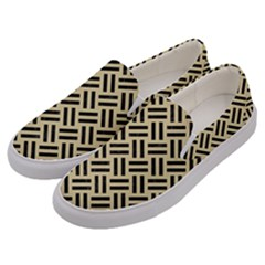Woven2 Black Marble & Light Sand (r) Men s Canvas Slip Ons by trendistuff