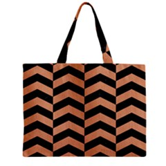 Chevron2 Black Marble & Natural Red Birch Wood Zipper Mini Tote Bag by trendistuff