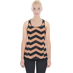 Chevron3 Black Marble & Natural Red Birch Wood Piece Up Tank Top by trendistuff