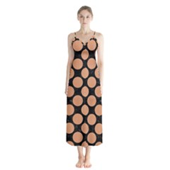 Circles2 Black Marble & Natural Red Birch Wood Button Up Chiffon Maxi Dress