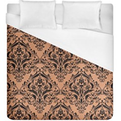 Damask1 Black Marble & Natural Red Birch Wood (r) Duvet Cover (king Size)