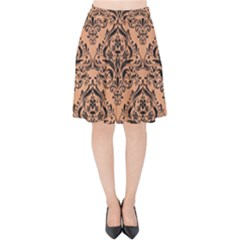 Damask1 Black Marble & Natural Red Birch Wood (r) Velvet High Waist Skirt by trendistuff