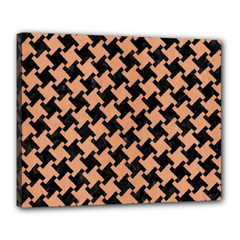 Houndstooth2 Black Marble & Natural Red Birch Wood Canvas 20  X 16  by trendistuff