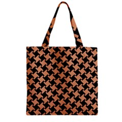 Houndstooth2 Black Marble & Natural Red Birch Wood Zipper Grocery Tote Bag by trendistuff