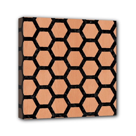 Hexagon2 Black Marble & Natural Red Birch Wood (r) Mini Canvas 6  X 6  by trendistuff