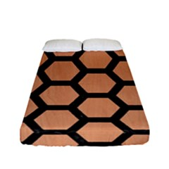 Hexagon2 Black Marble & Natural Red Birch Wood (r) Fitted Sheet (full/ Double Size) by trendistuff