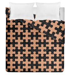 Puzzle1 Black Marble & Natural Red Birch Wood Duvet Cover Double Side (queen Size) by trendistuff