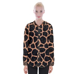 Skin1 Black Marble & Natural Red Birch Wood (r) Womens Long Sleeve Shirt
