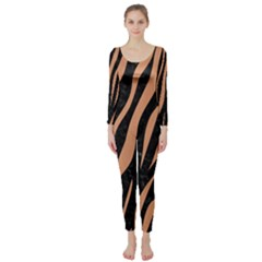 Skin3 Black Marble & Natural Red Birch Wood Long Sleeve Catsuit by trendistuff
