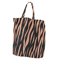 Skin3 Black Marble & Natural Red Birch Wood Giant Grocery Zipper Tote by trendistuff
