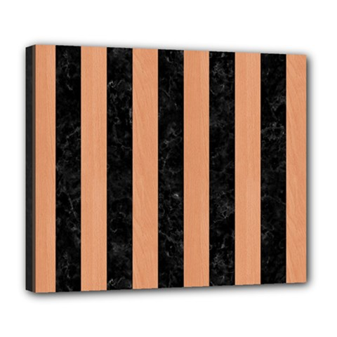 Stripes1 Black Marble & Natural Red Birch Wood Deluxe Canvas 24  X 20   by trendistuff