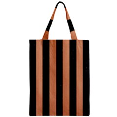 Stripes1 Black Marble & Natural Red Birch Wood Zipper Classic Tote Bag by trendistuff