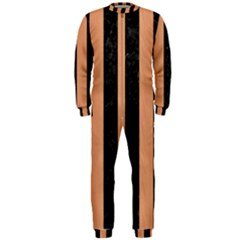 Stripes1 Black Marble & Natural Red Birch Wood Onepiece Jumpsuit (men)