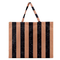 Stripes1 Black Marble & Natural Red Birch Wood Zipper Large Tote Bag by trendistuff