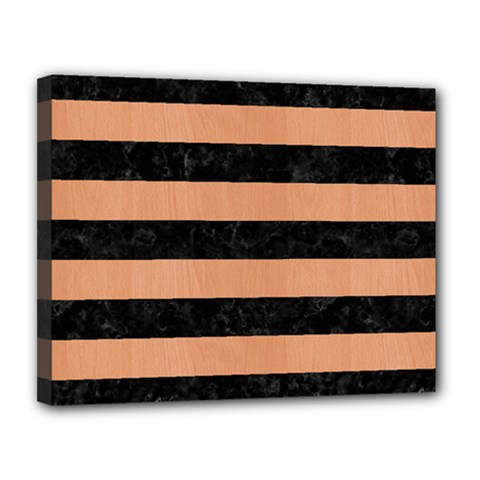 Stripes2 Black Marble & Natural Red Birch Wood Canvas 14  X 11  by trendistuff