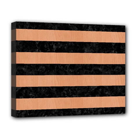 Stripes2 Black Marble & Natural Red Birch Wood Deluxe Canvas 20  X 16   by trendistuff