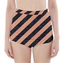Stripes3 Black Marble & Natural Red Birch Wood High Waisted Bikini Bottoms