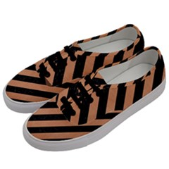 Stripes3 Black Marble & Natural Red Birch Wood Men s Classic Low Top Sneakers by trendistuff