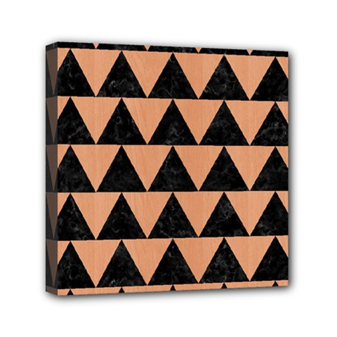 Triangle2 Black Marble & Natural Red Birch Wood Mini Canvas 6  X 6  by trendistuff