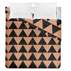 Triangle2 Black Marble & Natural Red Birch Wood Duvet Cover Double Side (queen Size) by trendistuff