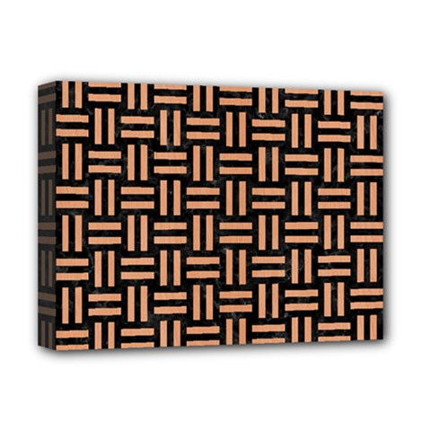 Woven1 Black Marble & Natural Red Birch Wood Deluxe Canvas 16  X 12