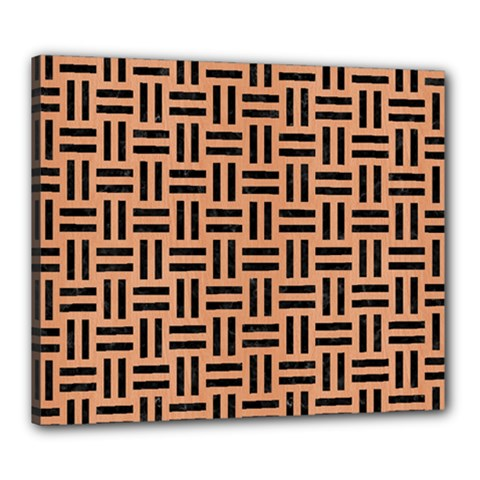 Woven1 Black Marble & Natural Red Birch Wood (r) Canvas 24  X 20  by trendistuff
