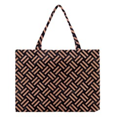 Woven2 Black Marble & Natural Red Birch Wood Medium Tote Bag by trendistuff