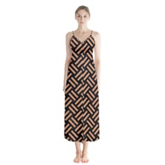Woven2 Black Marble & Natural Red Birch Wood Button Up Chiffon Maxi Dress by trendistuff
