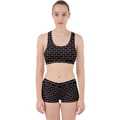 Brick1 Black Marble & Natural White Birch Wood Work It Out Sports Bra Set