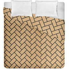 Brick2 Black Marble & Natural White Birch Wood (r) Duvet Cover Double Side (king Size) by trendistuff