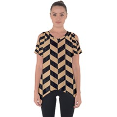 Chevron1 Black Marble & Natural White Birch Wood Cut Out Side Drop Tee