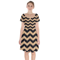 Chevron3 Black Marble & Natural White Birch Wood Short Sleeve Bardot Dress