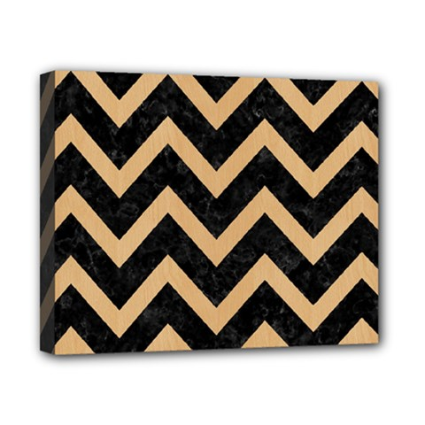 Chevron9 Black Marble & Natural White Birch Wood Canvas 10  X 8  by trendistuff