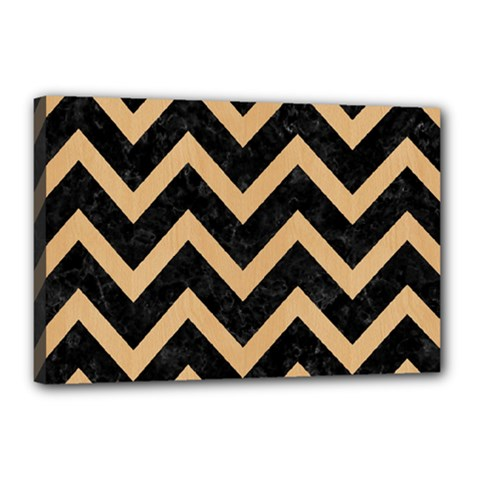 Chevron9 Black Marble & Natural White Birch Wood Canvas 18  X 12  by trendistuff