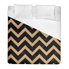 Chevron9 Black Marble & Natural White Birch Wood Duvet Cover (full/ Double Size) by trendistuff